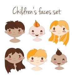 happy kids faces Cute vector image