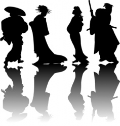 japanese silhouettes vector image vector image