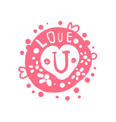 love u logo template colorful hand drawn vector image vector image