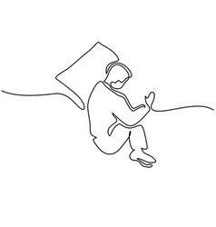 man in sleeping pose on pillow vector image