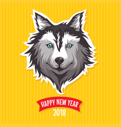 new year 2018 greeting card with stylized dog vector image