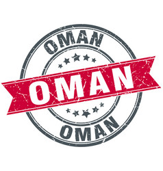 Oman red round grunge vintage ribbon stamp vector