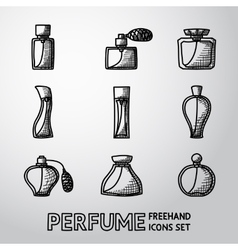 Perfume handdrawn icons set with different shapes vector