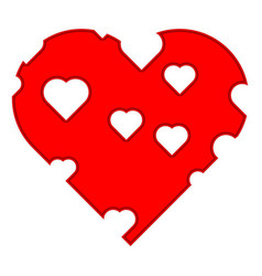 red heart with holes vector image