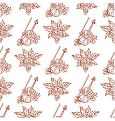 Seamless pattern with violins and hops branch vector