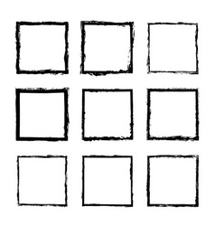 set of square frames drawn 3 vector image vector image