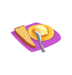Slice of brown bread with grains on purple table vector