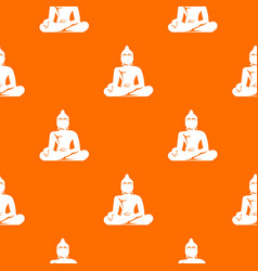Statue of buddha sitting in lotus pose pattern vector