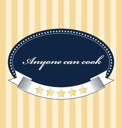 Vintage food card anyone can cook vector