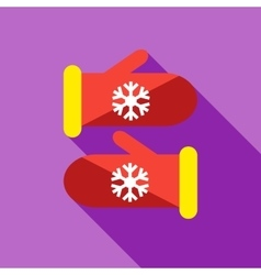 Knitted christmas mittens icon flat style vector