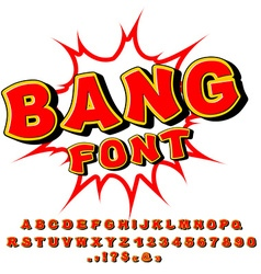 Bang font comic alphabet bright cartoon abc red vector