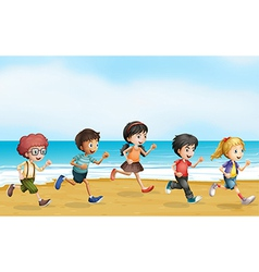 Running children vector image