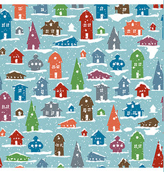 Christmas Snowy Village Calm scene Snowfall vector image