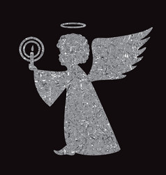 Silver angel silhouette on black background vector