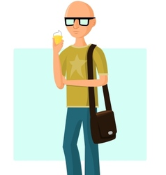 Young fashionable man with ice cream vector