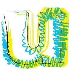 Sketch font Letter u vector image