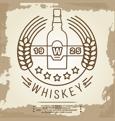 Vintage whiskey label design - retro drink poster vector