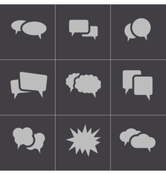 Black speech bubble icons set vector