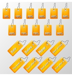 Orange labels with offers vector