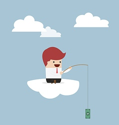 Businessman sitting on cloud with fish hook and do vector