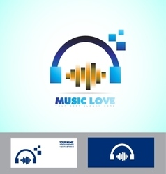 Music volume sound headphones icon logo vector image