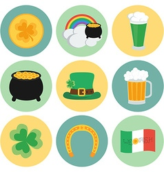 A set of flat icons on st patricks day vector