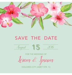 Wedding invitation card - with tropical flowers vector