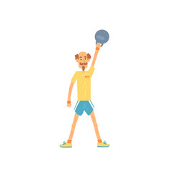 Adult man lifting kettlebell above head male vector