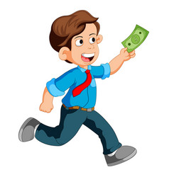 businessman running and holding money vector image