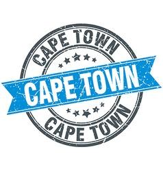Cape town blue round grunge vintage ribbon stamp vector