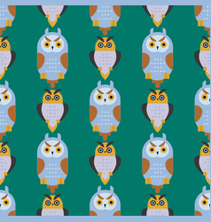 Cartoon owl bird cute character seamless pattern vector