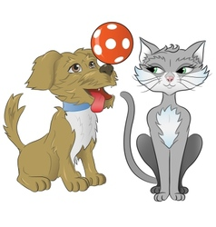 cat and dog playing together vector image