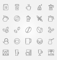 Coffee icons set - symbols in thin line vector