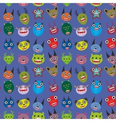 Cute cartoon monsters set on blue background vector
