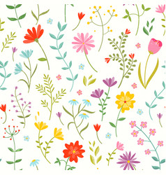 cute seamless floral pattern with spring flowers vector image vector image