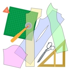 Cutting clothes items vector image vector image