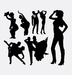 Dancer traditional and modern style silhouette vector image vector image