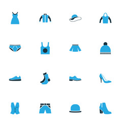 Dress colorful icons set collection of elegant vector