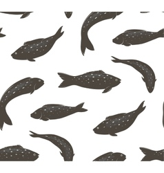 Fish Black and White Seamless Pattern vector image