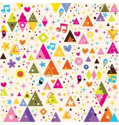 fun triangles funky cartoon retro pattern vector image vector image