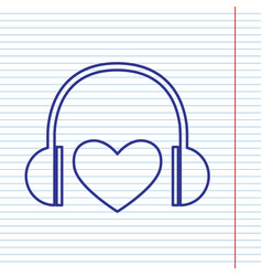 Headphones with heart navy line icon on vector