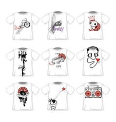 Hipsters doodle style fashionable t-shirts designs vector image