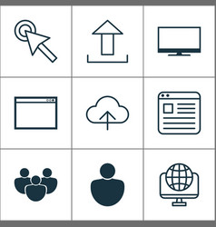 Internet icons set includes icons such as upload vector
