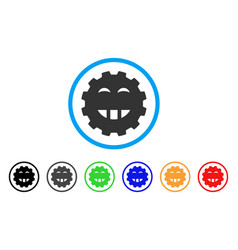 Laugth smiley gear icon vector