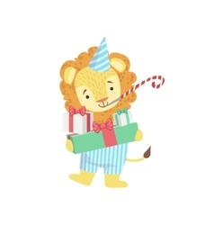 Lion cute animal character attending birthday vector