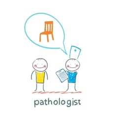 Pathologist with the patient says about the vector image vector image