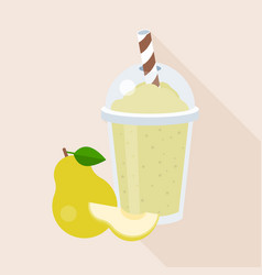 pear smoothie in plastic glass with ripe fruits vector image vector image