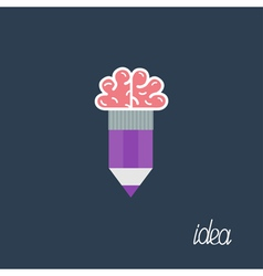 Pencil with brain Business Idea concept Flat desig vector image