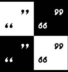 Quote sign black and white vector