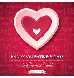 red background with pink valentine heart vector image vector image